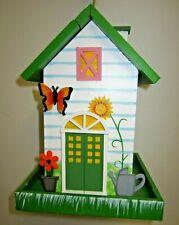 """Home Bazaar Orange Butterfly Cottage Wood Bird Feeder 9.5"""" x 7"""" Bird House"""