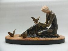 GENUINE ANTIQUE FRENCH ART DECO LADY WITH BIRDS SCULPTURE.