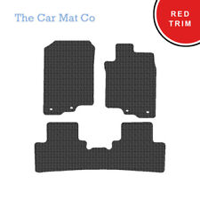 Honda Insight 2009-Present Fully Tailored Black Rubber Car Mats With Red Binding