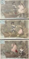 French Set of 3 LA PARTIE DE BATEAU Children Playing on Boat c1904 UB by S.I.P