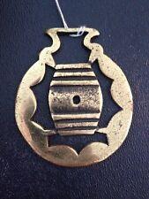 Vtg Brass Metal Bottle Beer Opener Hunting Barrel Horse Harness Medallion Plaque