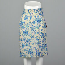 XS 1960s Wool Floral Blue Pencil Skirt Off White Vintage Deadstock Knee Length