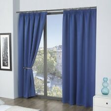 Thermal Pencil Pleat Blackout Curtains 9 Modern Colours and 8 Sizes Blue 65 X 72