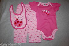 Baby Girls Three Pc Set Pants Tee Shirt Bib Pink Ladybug Love Bug Size 6-9 Mo