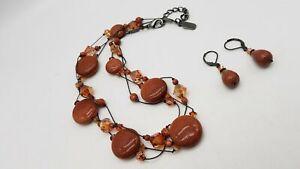 Dabby Reid Gunmetal Goldstone Necklace & Earrings Lot 56g AET400