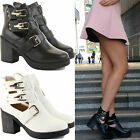 WOMENS LADIES BLOCK MID HEEL GOLD BUCKLE CHELSEA ANKLE CUT OUT BOOTS SHOES SIZE