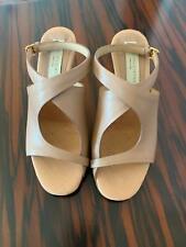 EUC STELLA MCCARTNEY Vegan Leather Beige Open Toe Small Heel Sandal SZ 35/US 5