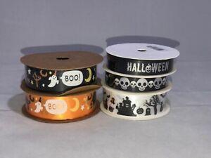 15mm or 25mm Halloween Sheer Organza Satin Ribbon Ghost Pumpkin Roll Skulls Boo