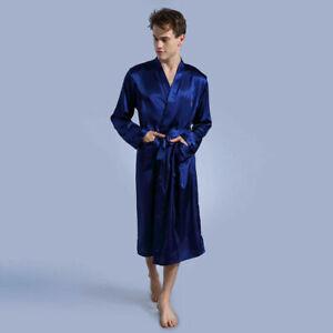 Mens Satin Pajamas Robe Dressing Summer Gown Pjs Loungewear Kimono Bathrobe