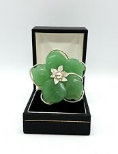 Sterling Silver Hand Crafted Wired Big Ring with Carved Flower in Green Stone R
