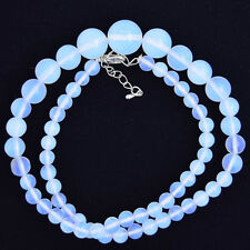 "6-14mm opalite quartz round beads 17"" necklace"