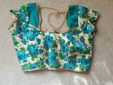 Gorgeous Gold/Teal/White Designer Saree Blouse ready-made Padded Size 36