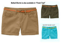 """FADED GLORY Women's Stretch Chino Shorts with Belt Size 4 8 16 *Inseam 4.5"""" 2 PC"""