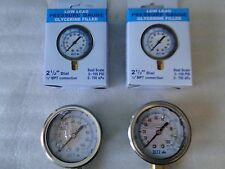 "(2) STAINLESS 2 1/2"" 2.5"" 100 PSI WATER WELL PRESSURE TANK GAUGE LIQUID GLYCERIN"