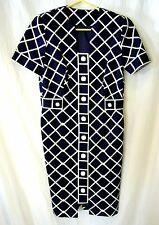 Women's Shirt Dress 8P Custom Made Button Front Lined Navy & White Check S/S