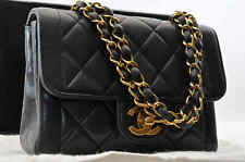 Authentic CHANEL Lamb Skin Mini Matelasse Double Chain Hand Bag Black #S1852