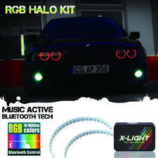 2x Bluetooth Control RGB LED Demon Eye Halo Rings For HID Projector Lights Lens
