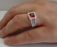925 STERLING SILVER LADIES RING W/ 2 CT LAB DIAMOND& RUBY /SIZE 5 TO 9/STUNNING