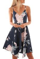 Floral Print Asymmetric Hem Sway Midi Dress In Black,Red And Navy Size UK 6-20