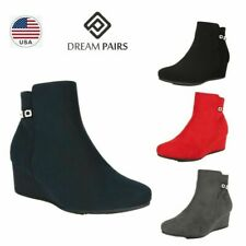 DREAM PAIRS Women's Wedge Heel Ankle Boots Chunky  Suede Zipper Casual Booties