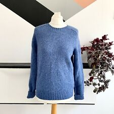 POLO RALPH LAUREN Jumper Size Small BLUE | WOOL Smart Casual Warm Elbow patches