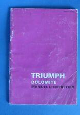Triumph Dolomite manuel d'entretien en français