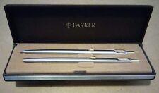 PARKER VINTAGE CLASSIC PEN PENCIL SET IN BOX USA STAINLESS STEEL GOLD ARROW TRIM