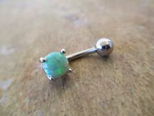 Green Lab Opal Prong Set 6mm Navel Belly Button Ring 14g 3/8""