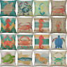 18'' Sea turtle, hippo Cotton Linen Pillow Case Cushion Cover Home Décor