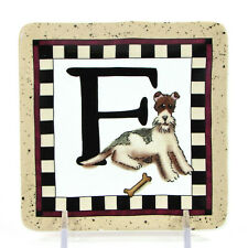 "MWW Market DOGGY WELCOME - ""F"" 4.5"" Mini Plate Woof Linda Spivey Penny Lane"