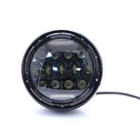 """7 """"Faro LED per moto 75W Proiettore nero Faro LED per faro Harley Cafe Racer 12v"""