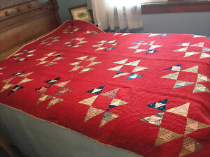 Antique Red Blue Tan Finely Hand-Stitched Patchwork QUILT 81X63 Wonderful!