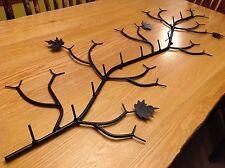 Coat Rack Holds 12 Coats 5 FEET W/Maple Leaves Flat Black rustic,camp ,lodge