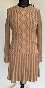 BodyFlirt Peach & Brown Jumper Dress Fit & Flare Gatsby Style Size 10 (S) Casual