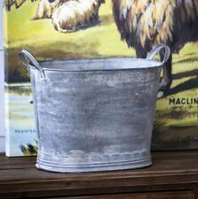 Farmhouse Galvanized Metal Tall Wash Tub Planter Basket