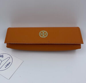 Tory Burch Small Orange Sunglasses or Eyeglasses Case with Magnetic Snap Closure