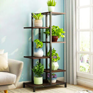 Multi Tier Iron Wooden Bookshelf Plant Stand Flower Rack Storage Organizer Shelf