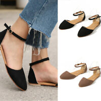 Women Flat Shoes Ankle Strap Ballet Pointed Toe Comfort Plus Size Loafer Sandals
