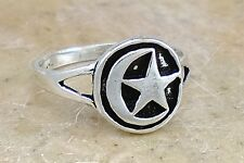 UNIQUE STERLING SILVER CRESCENT MOON n STAR RING size 7  style# r2334