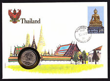 1984 Numisbrief Thai Thailand Coin & Budha design stamp Asia Asian Architecture