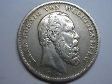 1875 GERMANY 5 MARK VON WUERTTEMBERG KARL KOENIG SILVER COIN EMPIRE