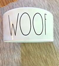 "Rae Dunn Magenta ""WOOF"" PET BOWL NEW Dog  White Black Stoneware"