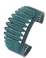 Patina Copper Feather Blue Green Cuff Fashion Jewelry Bangle Bracelet