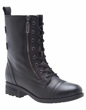 NEW WOMEN'S LANE BRYANT RAVENNA LEATHER COMBAT BOOTS SIZE:10W