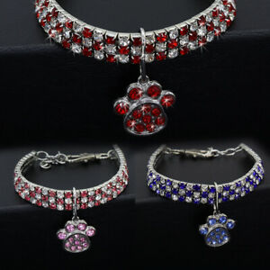 Bling Rhinestone Cat Necklace Small Puppy Dog Diamond Collars & Cute Paw Pendant