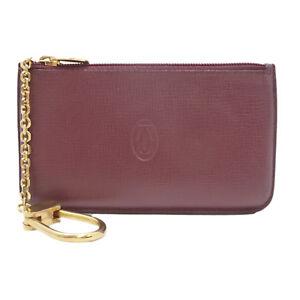 Authentic Cartier Must de Coin Purse Bordeaux Leather #S203078