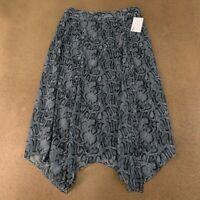 Kensie Women's Size Medium Gray Snakeskin Print Handkerchief Hem Midi Skirt NWT