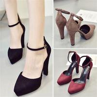 Women's Pointed Toe Slim High Heels Platform Pumps Sandals Ankle Buckle Shoes BN