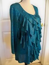"PRETTY LONG SLEEVE SCOOP NECK RUFFLED TURQUOISE BLOUSE ""ELEMENTZ"" SIZE L NWOT"