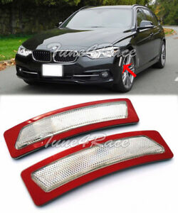 For 16-18 BMW 3-Series F30 F31 Bumper Reflector CLEAR Side Marker Lights Lamps